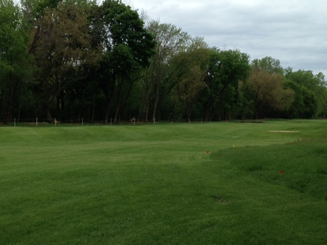 The picture does not do justice to this large ripple that cuts diagonally across the beginning of the fairway.