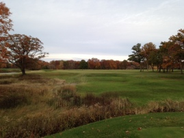 #17 - The par-4 seventeenth gives one last taste of the ravine from the tee - such a special feature.